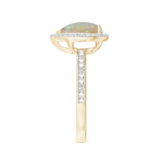 Кольцо из золота с опалом капля в ореоле из бриллиантов,  Больше Изображение 3