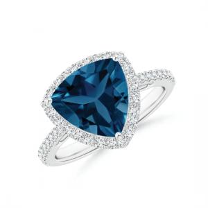 Кольцо с треугольным топазом в бриллиантовом ореоле