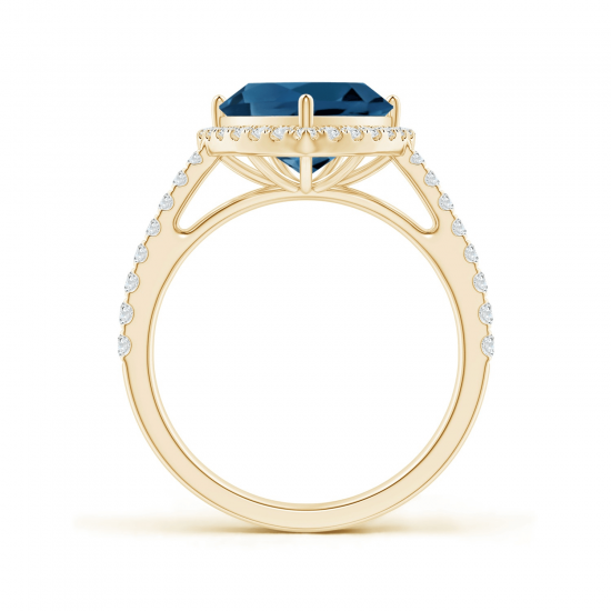 Кольцо из золота с топазом в бриллиантовом ореоле,  Больше Изображение 2
