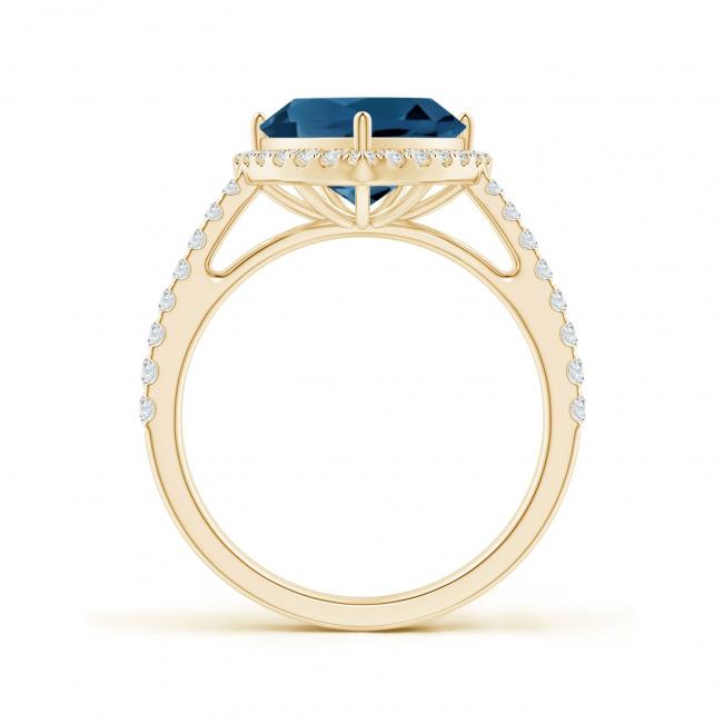 Кольцо из золота с топазом в бриллиантовом ореоле
