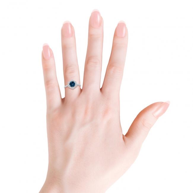 Кольцо с круглым топазом в бриллитовом шестиугольнике - Фото 3