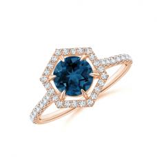 Кольцо с круглым топазом в бриллиантовом ореоле