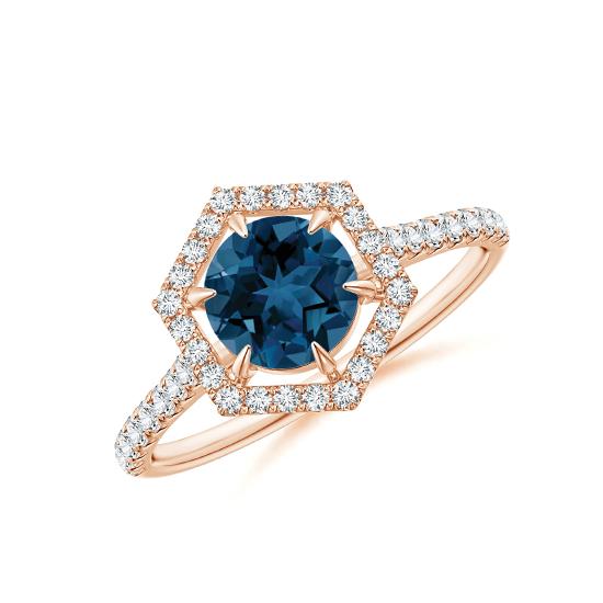 Кольцо с круглым топазом в бриллиантовом ореоле, Больше Изображение 1