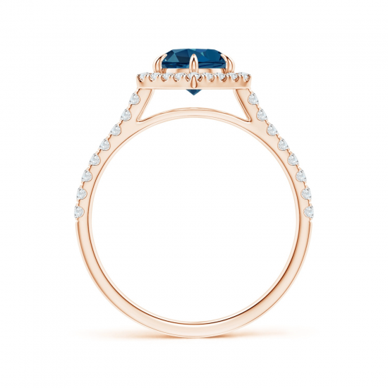 Кольцо с круглым топазом в бриллиантовом ореоле,  Больше Изображение 2