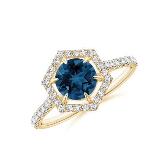 Кольцо из золота топазом в бриллиантовом ореоле, Больше Изображение 1