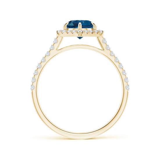 Кольцо из золота топазом в бриллиантовом ореоле,  Больше Изображение 2