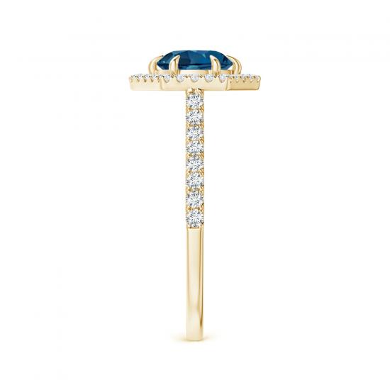 Кольцо из золота топазом в бриллиантовом ореоле,  Больше Изображение 3