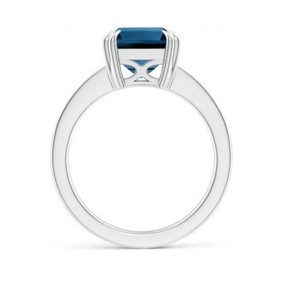 Кольцо с топазом эмеральд и бриллиантами по бокам,  Больше Изображение 2
