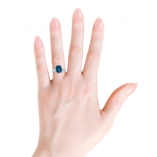 Кольцо с топазом эмеральд и бриллиантами,  Больше Изображение 4
