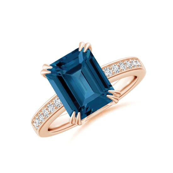 Кольцо с топазом эмеральд и бриллиантами, Больше Изображение 1