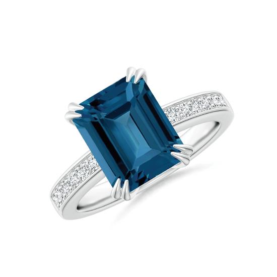 Кольцо с топазом эмеральд и бриллиантами по бокам, Больше Изображение 1