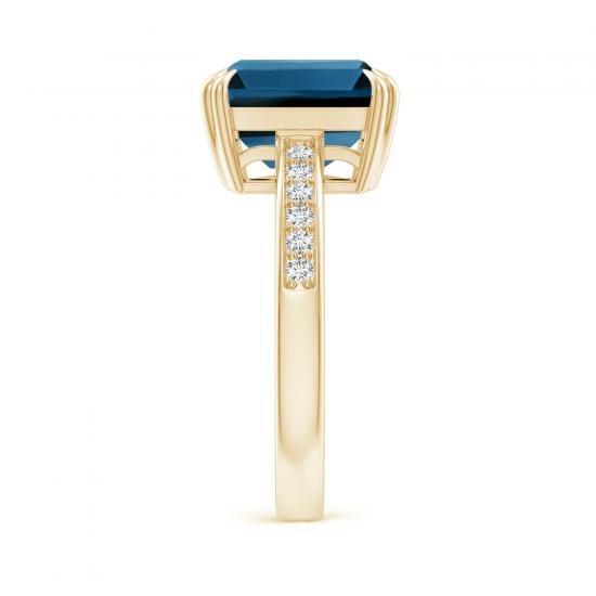 Кольцо из золота с топазом эмеральд и бриллиантами,  Больше Изображение 3