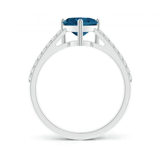 Кольцо с топазом сердце и тонкой дорожкой,  Больше Изображение 2