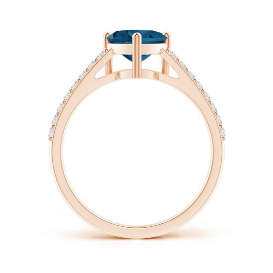 Кольцо с топазом сердце и бриллиантами,  Больше Изображение 2