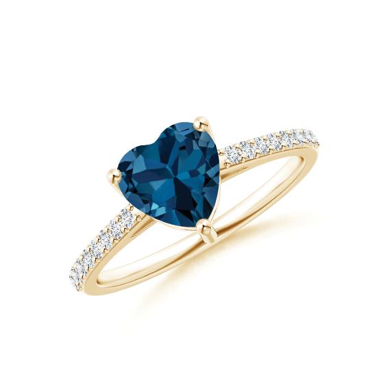 Кольцо из золота с топазом сердце и бриллиантами, Больше Изображение 1