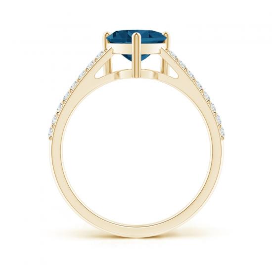 Кольцо из золота с топазом сердце и бриллиантами,  Больше Изображение 2