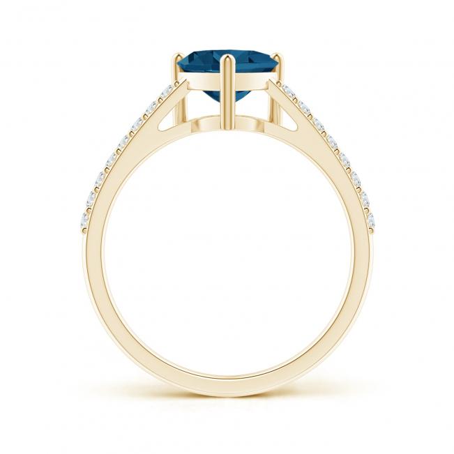 Кольцо из золота с топазом сердце и бриллиантами - Фото 1