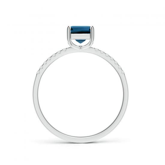 Кольцо с квадратным топазом из белого золота,  Больше Изображение 2