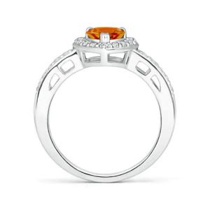 Кольцо с цитрином сердце в бриллиантовом паве