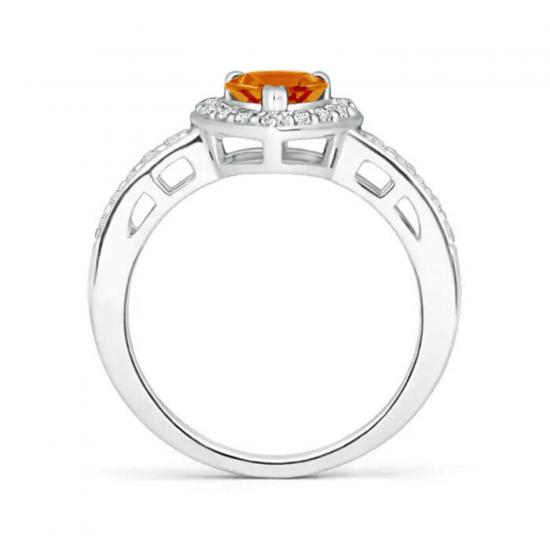 Кольцо с цитрином сердце в бриллиантовом паве,  Больше Изображение 2