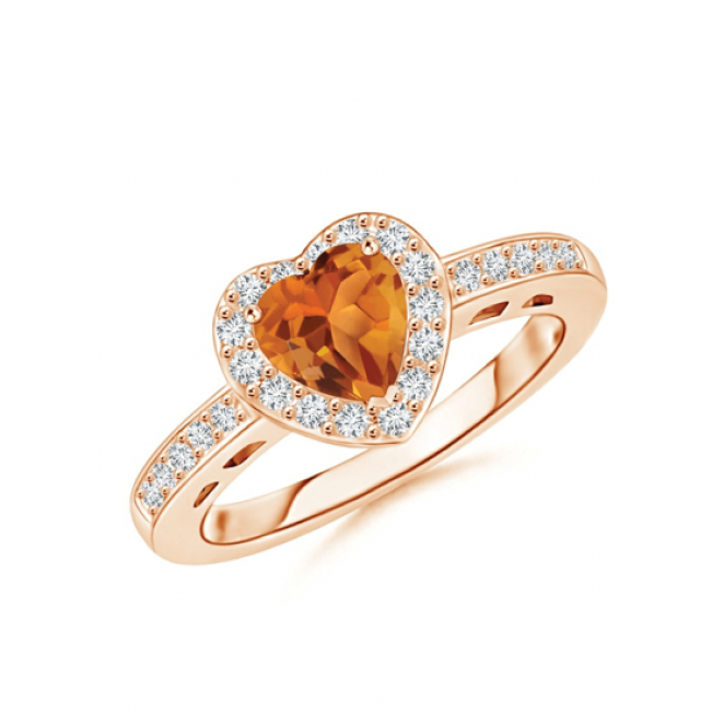 Кольцо с цитрином сердце в бриллиантовом ореоле