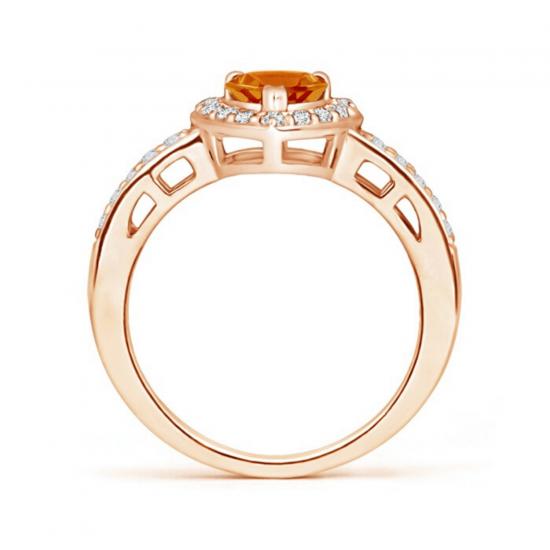 Кольцо с цитрином сердце в бриллиантовом ореоле,  Больше Изображение 2