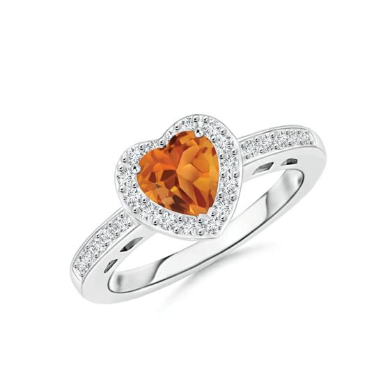 Кольцо с цитрином сердце в бриллиантовом паве, Больше Изображение 1
