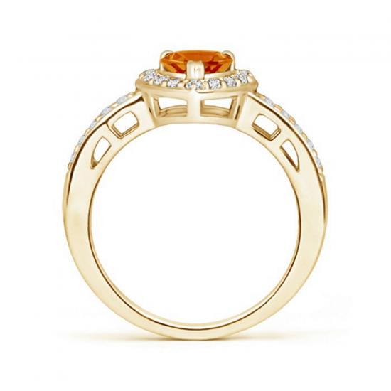 Кольцо с цитрином сердце и бриллиантами,  Больше Изображение 2