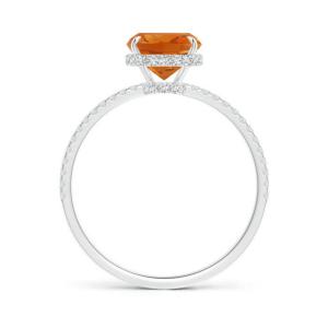 Кольцо с цитрином кушон и тонкой дорожкой из бриллиантов