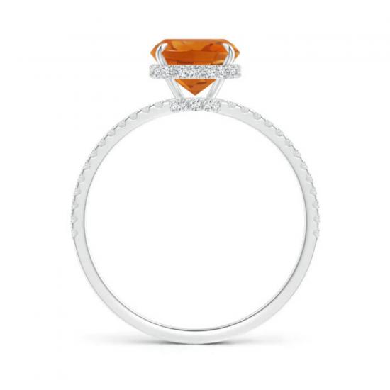 Кольцо с цитрином кушон и тонкой дорожкой из бриллиантов,  Больше Изображение 2