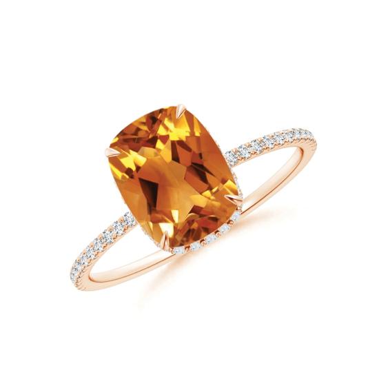 Кольцо с цитрином кушон и дорожкой из бриллиантов, Больше Изображение 1