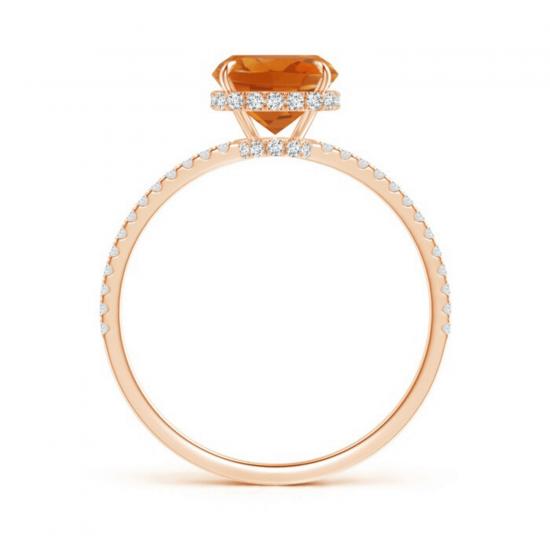 Кольцо с цитрином кушон и дорожкой из бриллиантов,  Больше Изображение 2