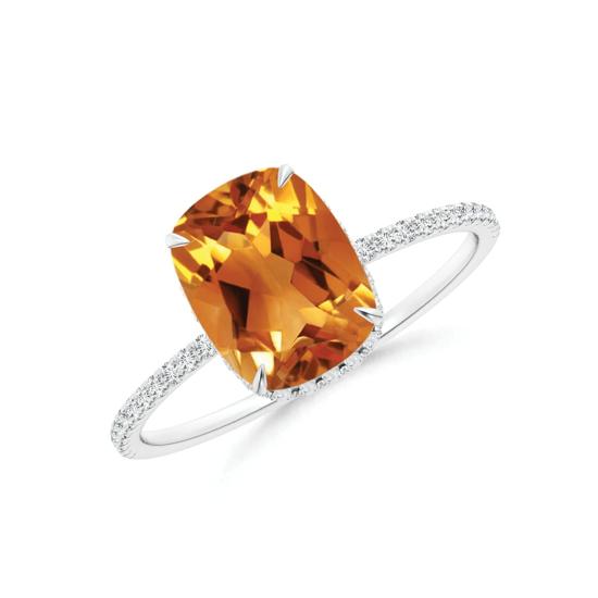 Кольцо с цитрином кушон и тонкой дорожкой из бриллиантов, Больше Изображение 1