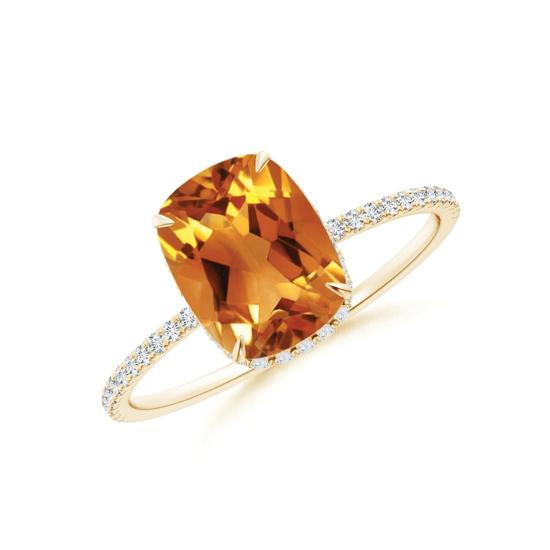 Кольцо из золота с цитрином кушон и дорожкой из бриллиантов, Больше Изображение 1