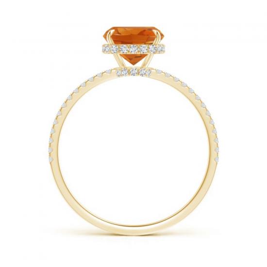 Кольцо из золота с цитрином кушон и дорожкой из бриллиантов,  Больше Изображение 2
