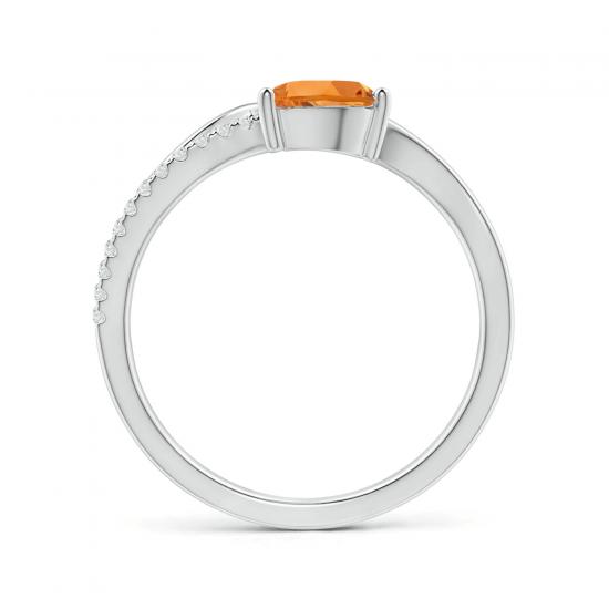 Кольцо с цитрином капля и паве из бриллиантов,  Больше Изображение 2