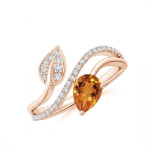 Кольцо с цитрином капля и бриллиантами