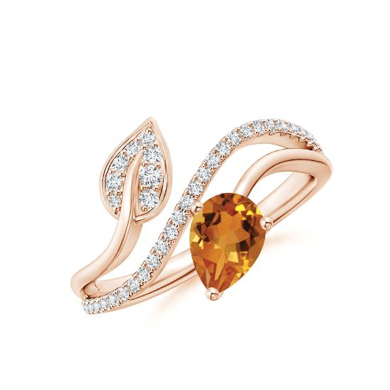 Кольцо с цитрином капля и бриллиантами, Больше Изображение 1