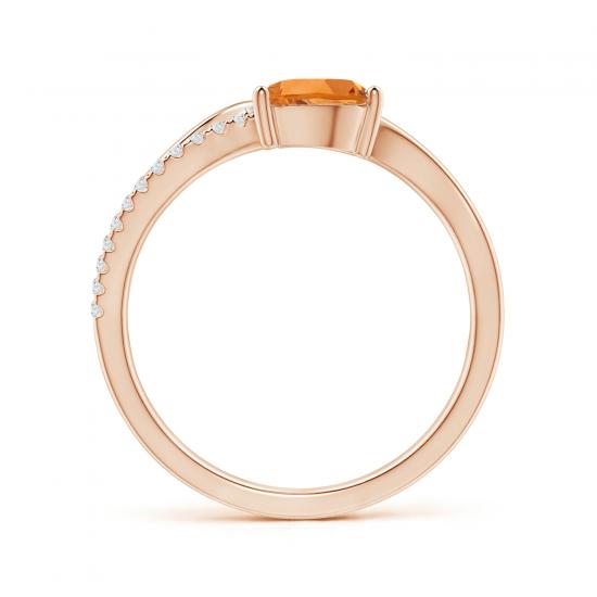 Кольцо с цитрином капля и бриллиантами,  Больше Изображение 2