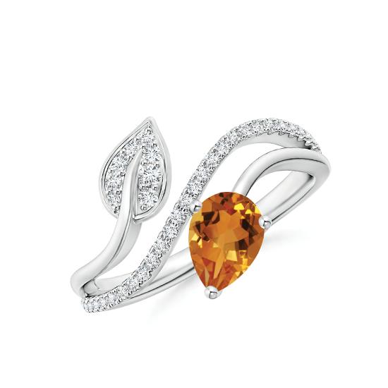 Кольцо с цитрином капля и паве из бриллиантов, Больше Изображение 1