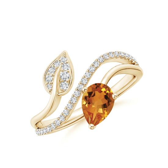Кольцо из золота с цитрином капля и бриллиантами, Больше Изображение 1