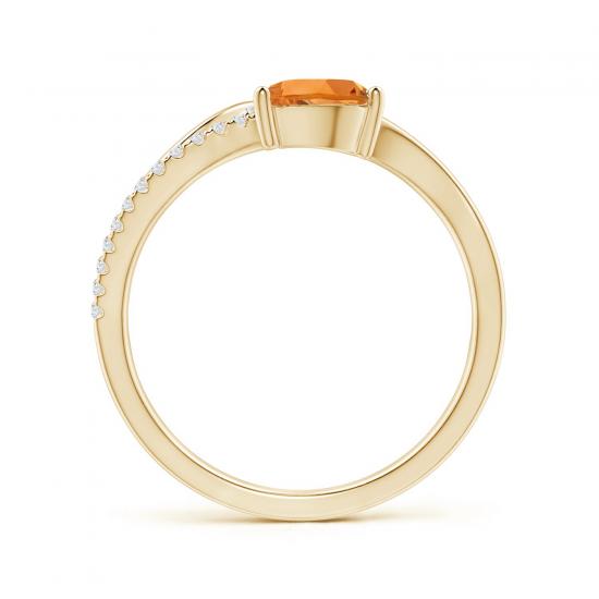 Кольцо из золота с цитрином капля и бриллиантами,  Больше Изображение 2