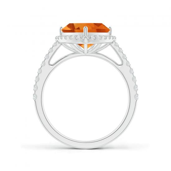 Кольцо с треугольным цитрином  10 мм в бриллиантовом ореоле,  Больше Изображение 2