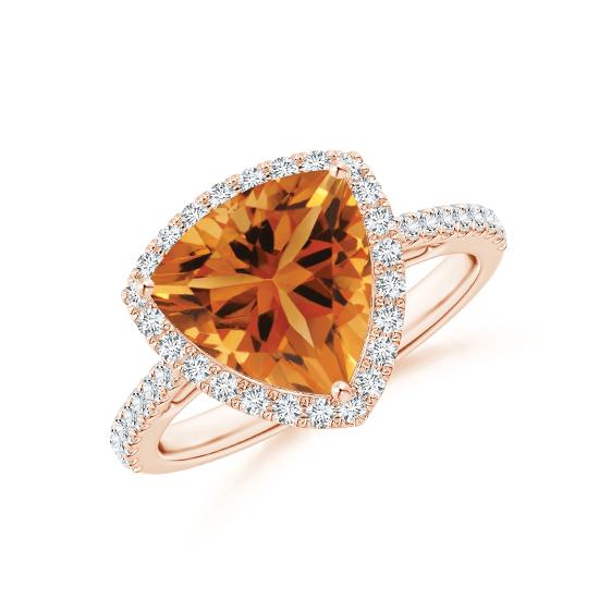 Кольцо с треугольным цитрином в бриллиантовом ореоле, Больше Изображение 1