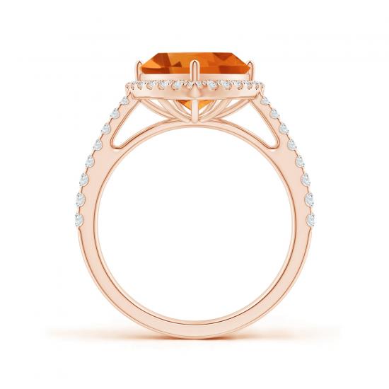 Кольцо с треугольным цитрином в бриллиантовом ореоле,  Больше Изображение 2