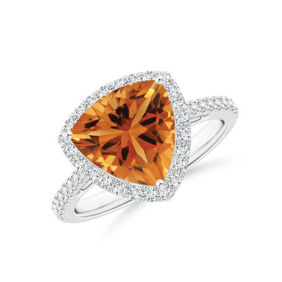 Кольцо с треугольным цитрином  10 мм в бриллиантовом ореоле, Больше Изображение 1