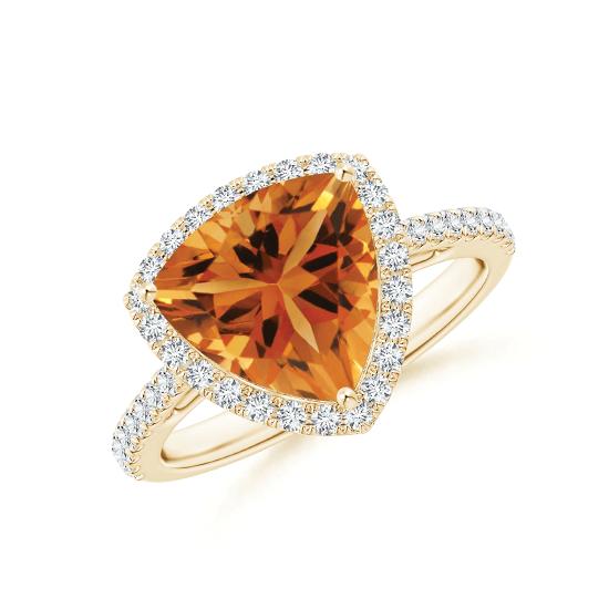 Кольцо с треугольным цитрином и бриллиантами, Больше Изображение 1