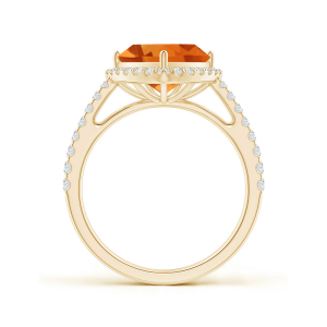 Кольцо с треугольным цитрином и бриллиантами