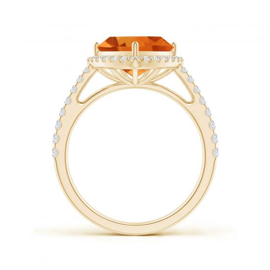 Кольцо с треугольным цитрином и бриллиантами,  Больше Изображение 2