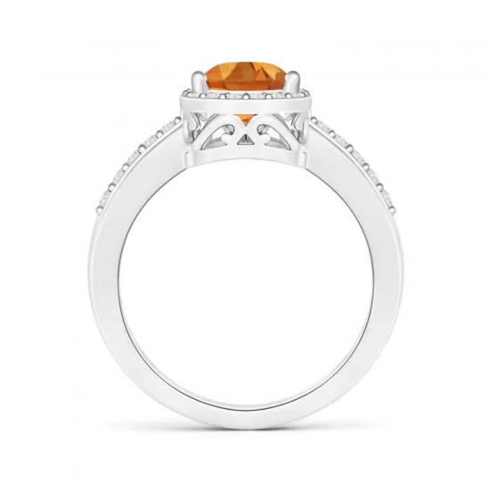 Кольцо с цитрином Груша в бриллиантовом ореоле,  Больше Изображение 2